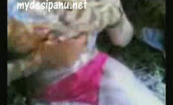 Bengali college girl with her lover in garden MMS