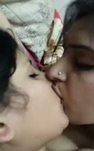 Lesbian girls spicy mouth kiss and chocolaty pussy