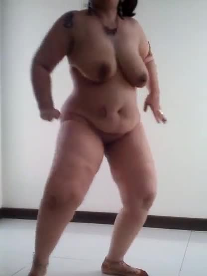 Hot and sexy naked dance of a chubby woman