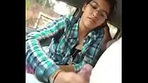 Hot teen sucking her lover's dick in the car